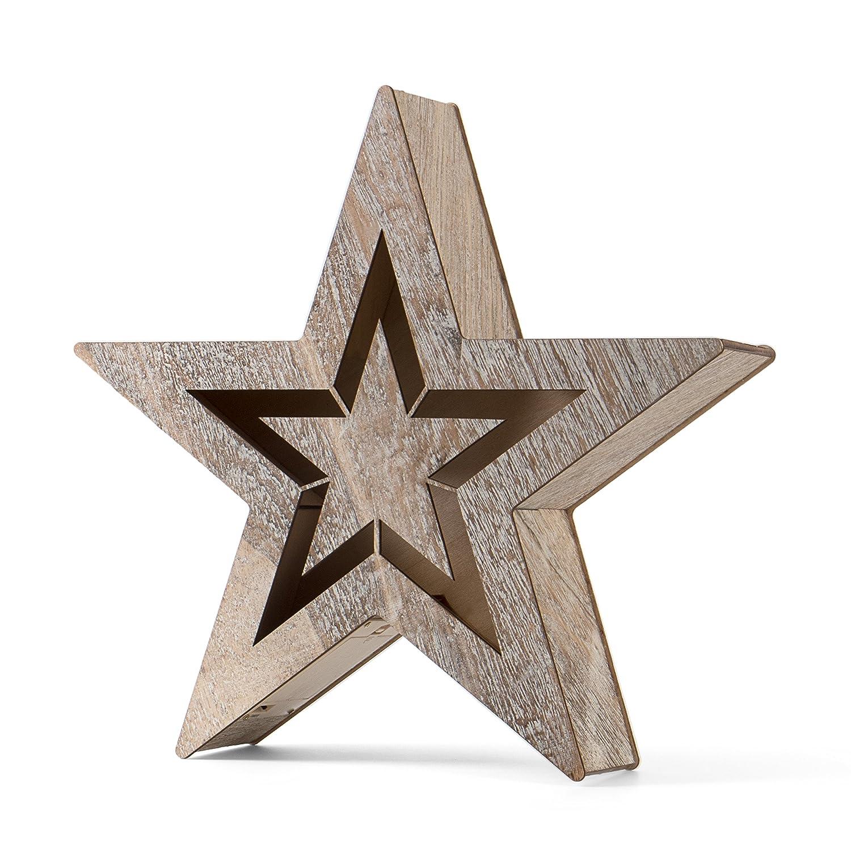 SnowEra LED Holzdekoration / Weihnachtsdekoration / Weihnachtsbeleuchtung mit 10 LED´s inkl. Batterien – Lichtfarbe: warm weiß | Form: Stern 1 - FSC 100 % SN-7319