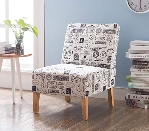LZ LEISURE ZONE Urban Stylish Fabric Accent Dining Chairs Sofa Side Chairs Upholstered Armchair with Wood Legs Home Furniture Letter Fabric