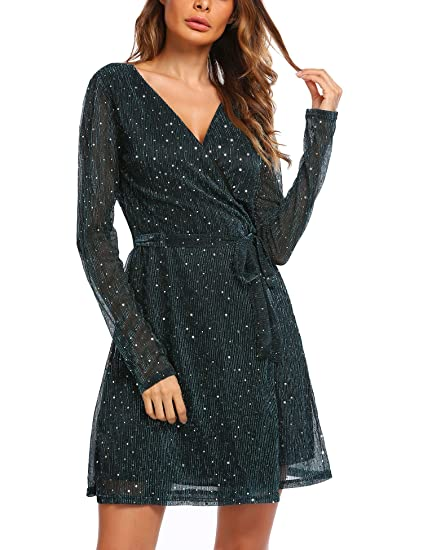 b1ff702791e Image Unavailable. Image not available for. Color  Zeagoo Women s Sexy Deep  V Neck Sequin Glitter Long Sleeve Mini Wrap Dress