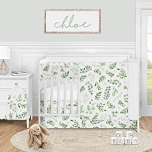 Sweet Jojo Designs Floral Leaf Baby Girl Nursery Crib Bedding Set - 5 Pieces - Green and White Boho Watercolor Botanical Woodland Tropical Garden