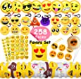 MelonBoat Emoji Party Favors Supplies 258 Faces Jumbo Pack, Backpack Keychain Plush, Balloons, Stickers, Rubber Wristbands Bracelets, Favor Goodie Bags, Bulk Set Stuff Toys Gifts for Kids Children