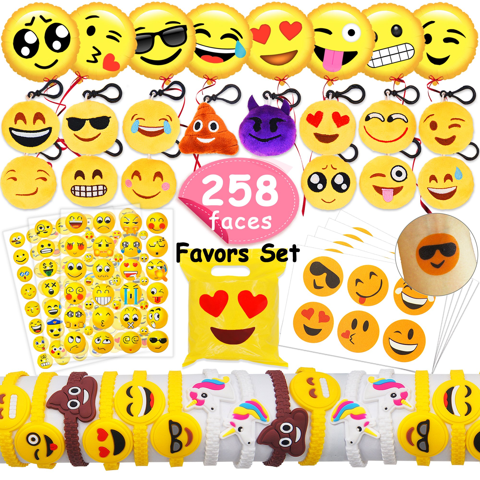 MelonBoat Emoji Party Favors Supplies 258 Faces Jumbo Pack, Backpack Keychain Plush, Balloons, Stickers, Rubber Wristbands Bracelets, Favor Goodie Bags, Bulk Set Stuff Toys Gifts Kids Children