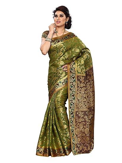 3672fa77630539 Amazon.com: Mimosa Women Kanchipuram Artificial Silk Saree with Contrast  Blouse.: Clothing