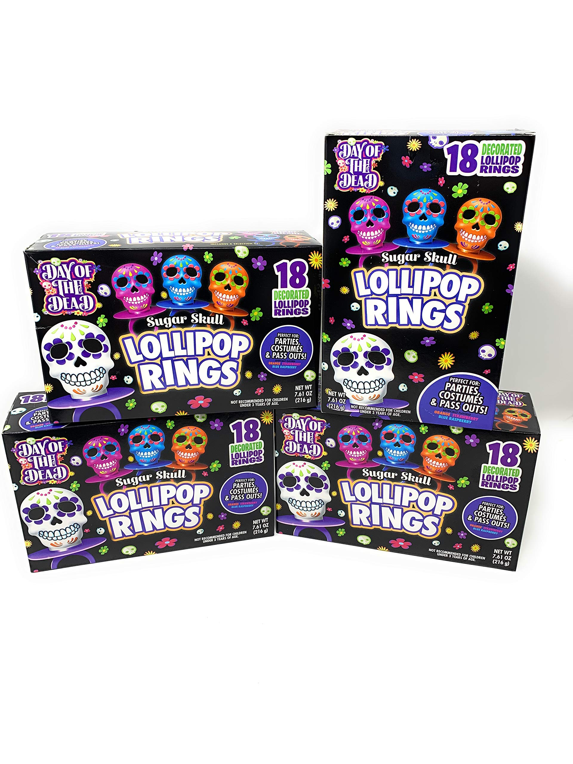 Halloween Day of the Dead Sugar Skull Lollipop Rings Candy, 18 Count Per Box (4 Boxes) by Imaginings