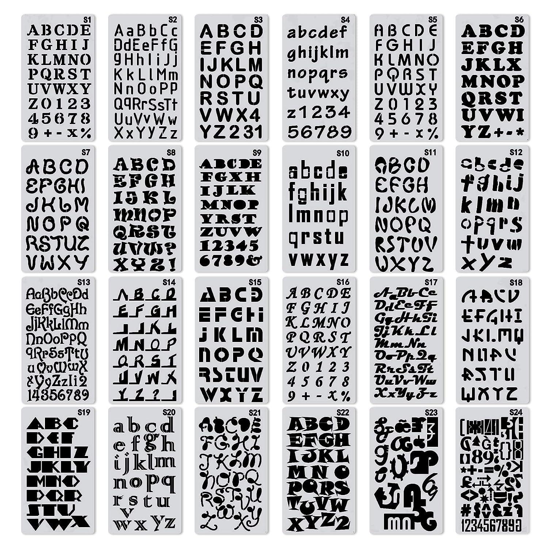 XCOZU Plantillas de letras, 24 Piezas Plantillas de alfabeto ...
