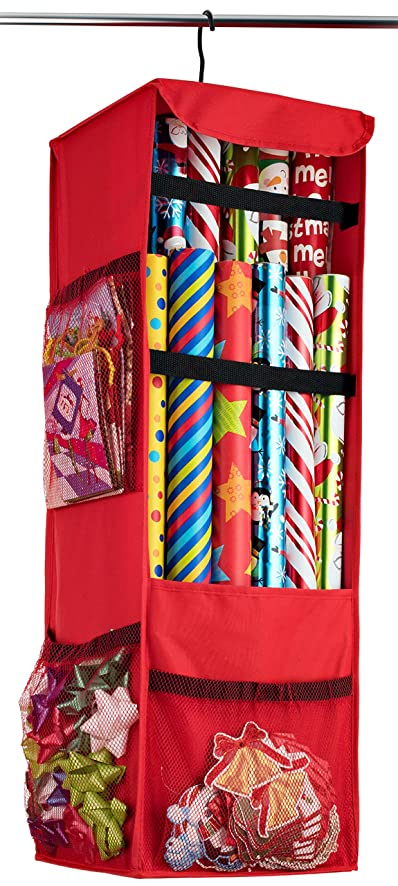 Zober Premium 600D Oxford Hanging Gift Wrap Storage Fits 25 30u0026quot; Rolls,  Spinning Closet