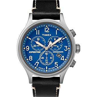 4410629e1 Timex Men's TW4B12400 Expedition Scout Chrono Black/Blue Leather Strap Watch