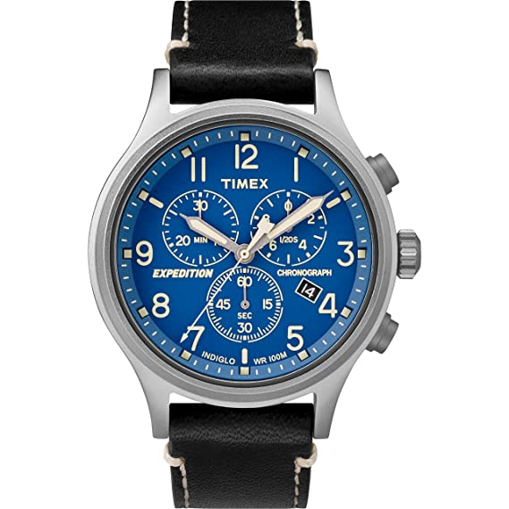 41996214d Timex Men's TW4B12400 Expedition Scout Chrono Black/Blue Leather Strap Watch:  Amazon.ca: Watches