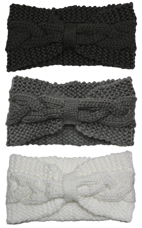 Bertelli 3 Pack Womens Winter Knit Headband & Hairband Ear Warmer