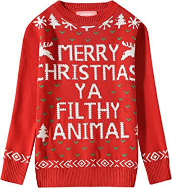 Camii Mia Big Girls' Funny Xmas Pullover Crewneck Ugly Christmas Sweater