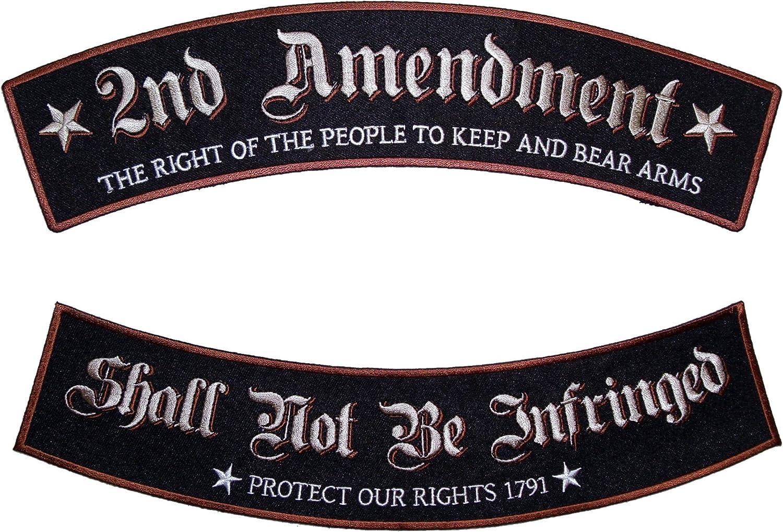 Patriotic The 2nd Amendment Gun Rights American Eagle 3 Pc Rocker Biker Patch