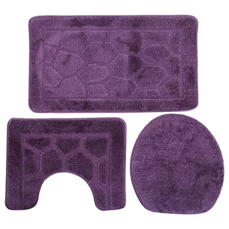 Set Tappeti da bagno 3 Pezzi (50cm x 80cm) (Viola): Amazon.it: Casa ...