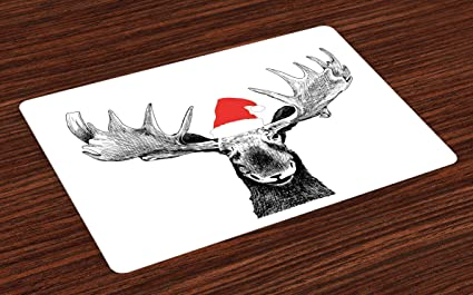c4088ac9 Lunarable Moose Place Mats Set of 4, Funny Christmas Moose with Antlers and  Santa Claus