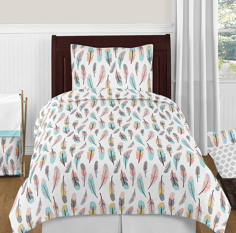 Charming Amazon.com: Sweet Jojo Designs Feather 4pc Girls Kids Childrens Teen Twin  Bedding Set: Home U0026 Kitchen