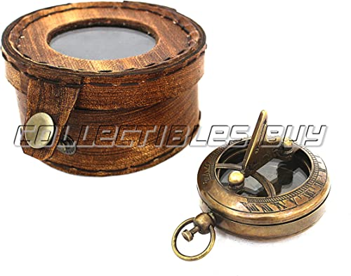 collectiblesBuy Antique Push Button Brass Sundial Compass Nautical with Leather Case