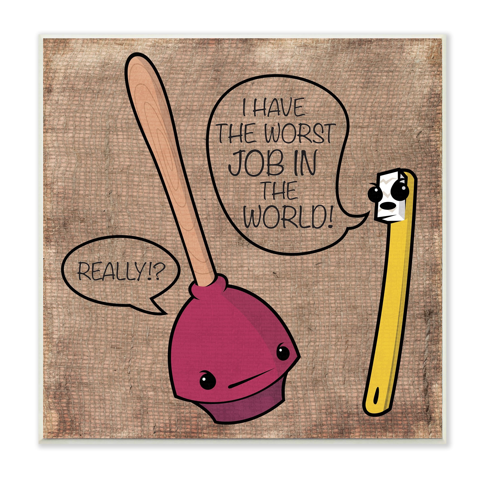 Stupell Home Décor Toothbrush and Plunger Cartoon Humor Bath Wall Plaque Art, 12 x 0.5 x 12, Proudly Made in USA