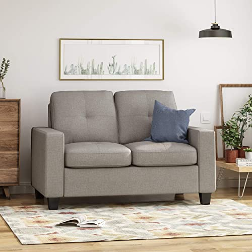 Estelle Contemporary Waffle Stitch Tufted Loveseat