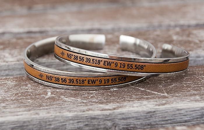 Amazon.com: Personalized Matching Couples Bracelets Coordinate GPS ...