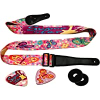 La correa de guitarra rosa para niños y niñas incluye 2 cierres de correa y 2 selecciones a juego, poliéster ajustable para amantes de la guitarra eléctrica y acústica de primer acto y descubrimiento.