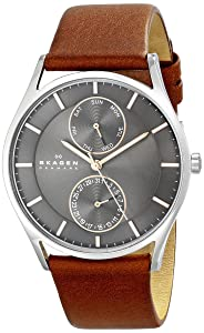 Skagen Holst Stainless Steel Watch with Brown Leather Band
