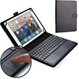 Google Nexus 10 keyboard case, COOPER TOUCHPAD EXECUTIVE 2-in-1 Wireless Bluetooth Keyboard Mouse Leather Travel Cases Cover Holder Folio Portfolio + Stand Samsung P8110 (Black)