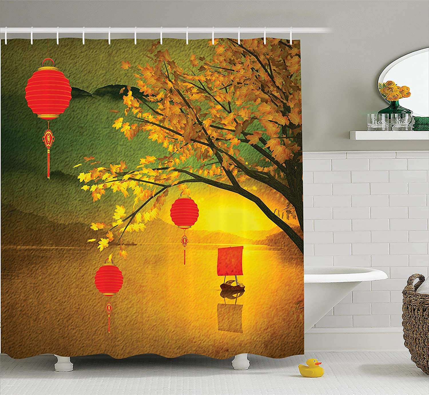 Amazon.com: Ambesonne Lantern Decor Shower Curtain Set, Traditional on climbing nightshade plant, bleeding heart plant, chinese paper lanterns, abutilon plant, chinese flying lanterns, lace aloe plant, rhododendron plant, snapdragon plant, baloon flower plant, chinese money plant, chinese tomato plant, flowering maple plant, foxglove plant, chinese rain tree, bittersweet plant, lupine plant, chinese red plant, verbena plant, bird of paradise plant, chinese sky lanterns,