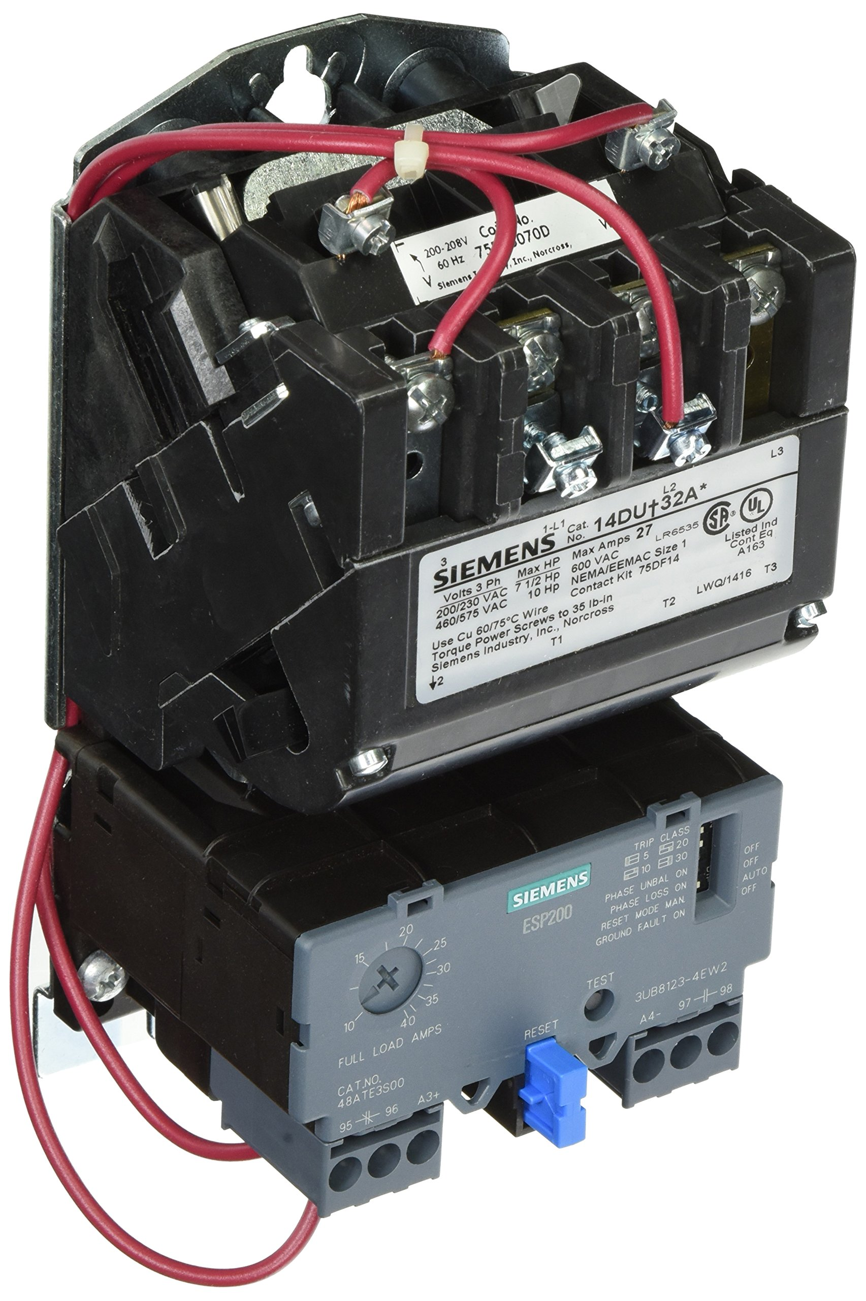 Siemens 14DUE32AD Heavy Duty Motor Starter, Solid State Overload, Auto/Manual Reset, Open Type, Standard Width Enclosure, 3 Phase, 3 Pole, 1 NEMA Size, 10-40A Amp Range, A1 Frame Size, 200-208 at 60Hz Coil Voltage