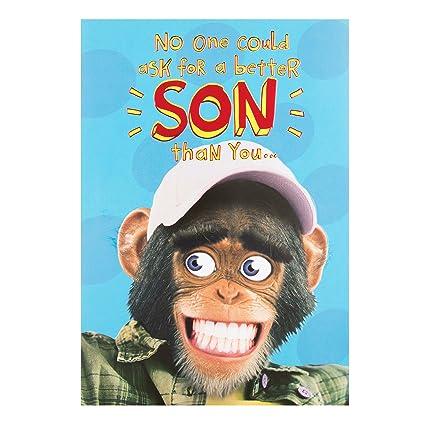 Amazon Hallmark Son Birthday Card Monkey Medium Office
