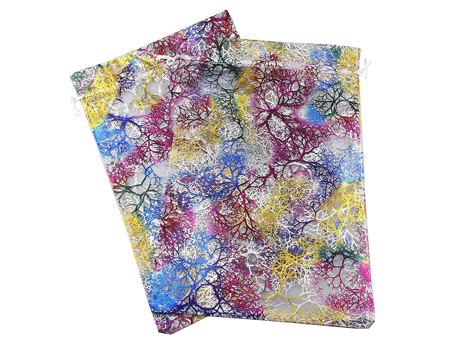 QIANHAILIZZ 8 x 12 Inch 21 Drawstring Colorful Tree Bags Organza Jewelry Gift Pouch Candy Pouch Drawstring Wedding Favor Bags Turquoise