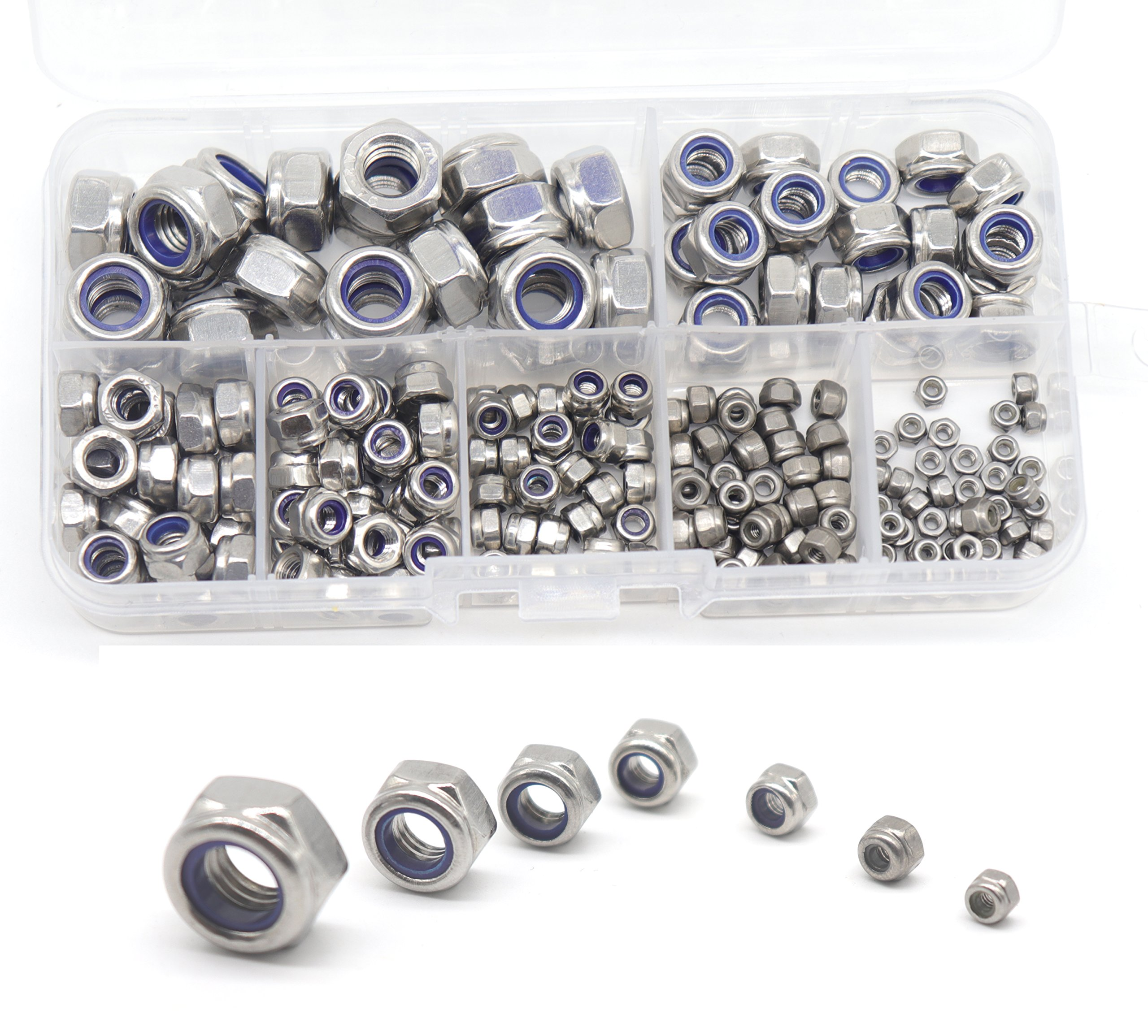 cSeao 210pcs Nylock Hex Self Locking Nuts Assortment Kit, Nylon Inserted Nuts, 304 Stainless Steel, Self Clinching Nuts