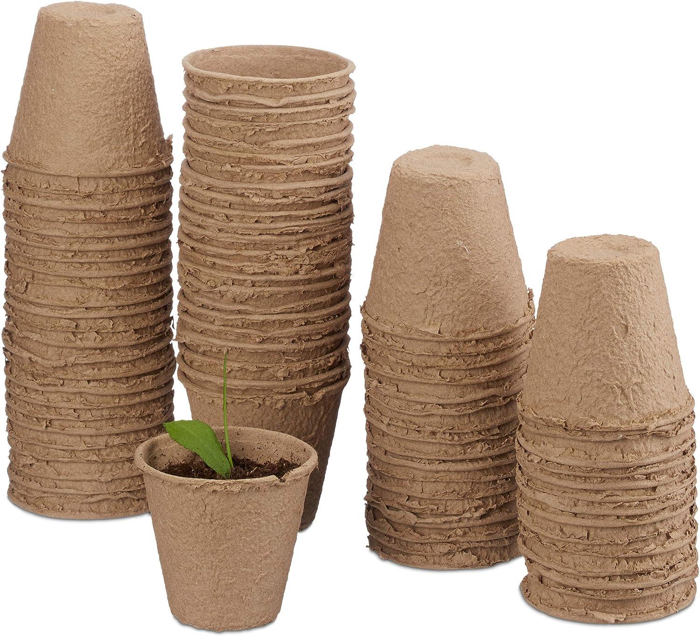 Relaxdays, Beige biodegradables, Set de 80 macetas Redondas, Celulosa, 8 cm