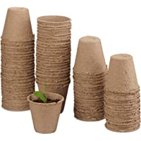 Relaxdays, Beige biodegradables, Set de 80 macetas Redondas