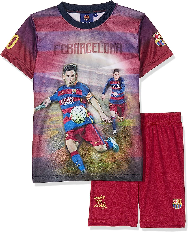 Fc Barcelona Conjunto oficial de camiseta y pantalones cortos (talla para niño), diseño de Lionel Messi: Amazon.es: Deportes y aire libre