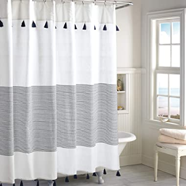 Peri Home Panama Stripe 100% Cotton Fabric Shower Curtain for Bathroom, 72 x 72 inches, Navy