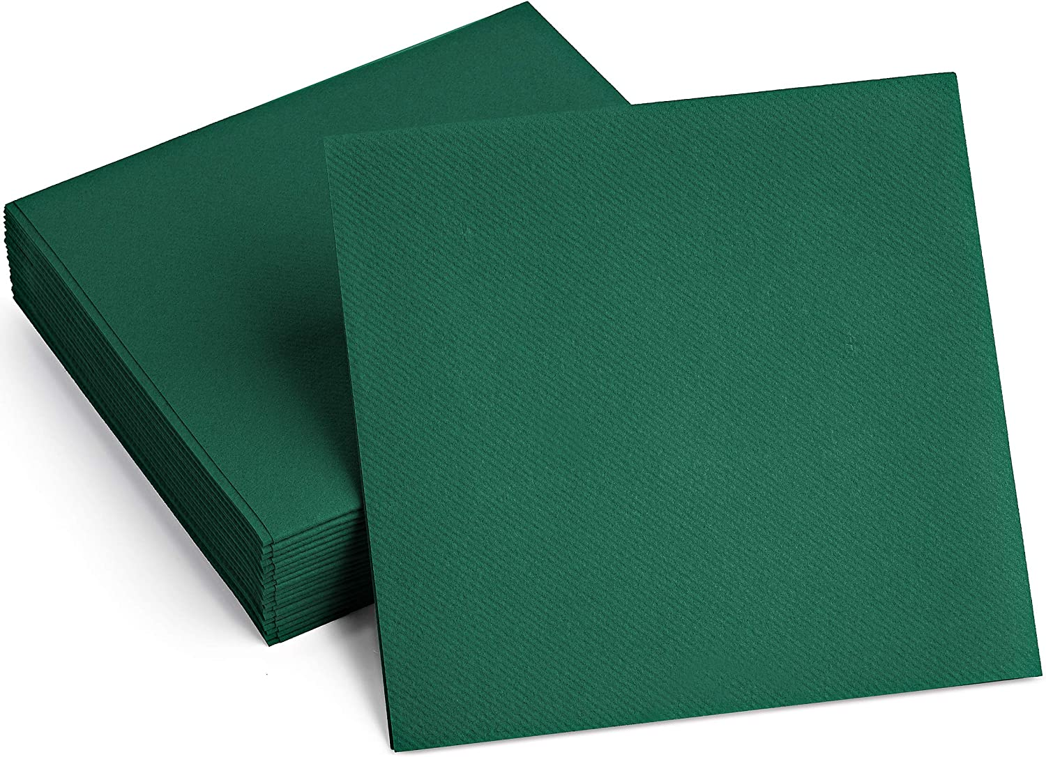 100 Linen-Feel Colored Paper Napkins - Decorative Cloth-Like GREEN Luncheon Napkins - Soft And Absorbent. For Kitchen, Party, Wedding, Dinner Or Any Occasion. (Pack of 100)