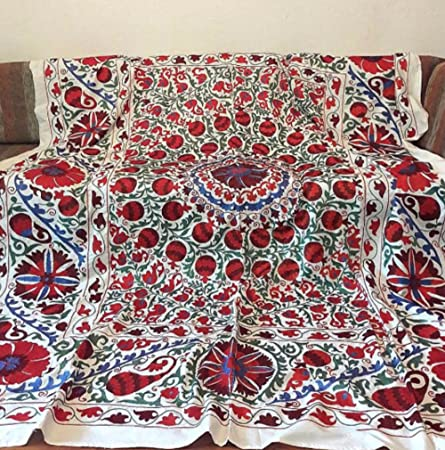 A Bright Handmade Uzbek Suzani.Tablecloth, Wall Hanging, Bedspread.:  Amazon.co.uk: Kitchen U0026 Home