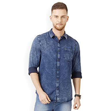 e9102faf7 Derby Jeans Community Blue Dobby Solid Cotton Slim Fit Men's Shirt:  Amazon.in: Clothing & Accessories