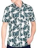 Tusok Men Short Sleeve Shirt Casual Hawaiian Flower Floral Party Beach Vacation Aloha Printed Blackish Blue Leaf on White