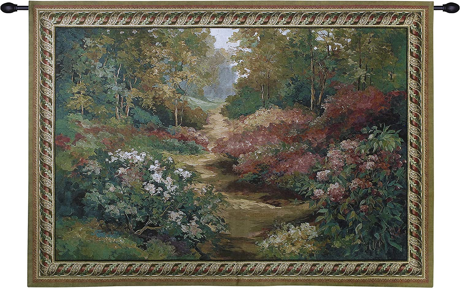 Along the Garden Path by Alix Stefan   Woven Tapestry Wall Art Hanging   Blooming Flowers Nature Trail Artwork   100% Cotton USA Size 68x53