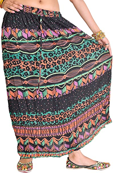 Exotic India - Falda - para mujer Negro Black and Green: Amazon.es ...