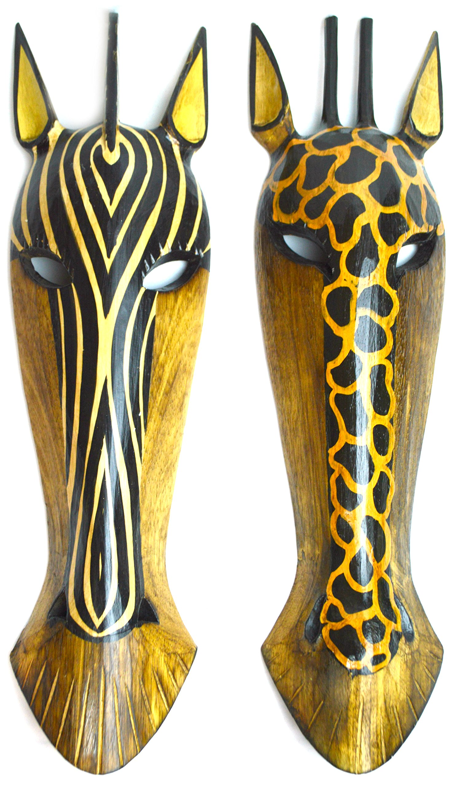 22'' Pair of Giraffe and Zebra Hand Carved Tribal Head Masks by WorldBazzar