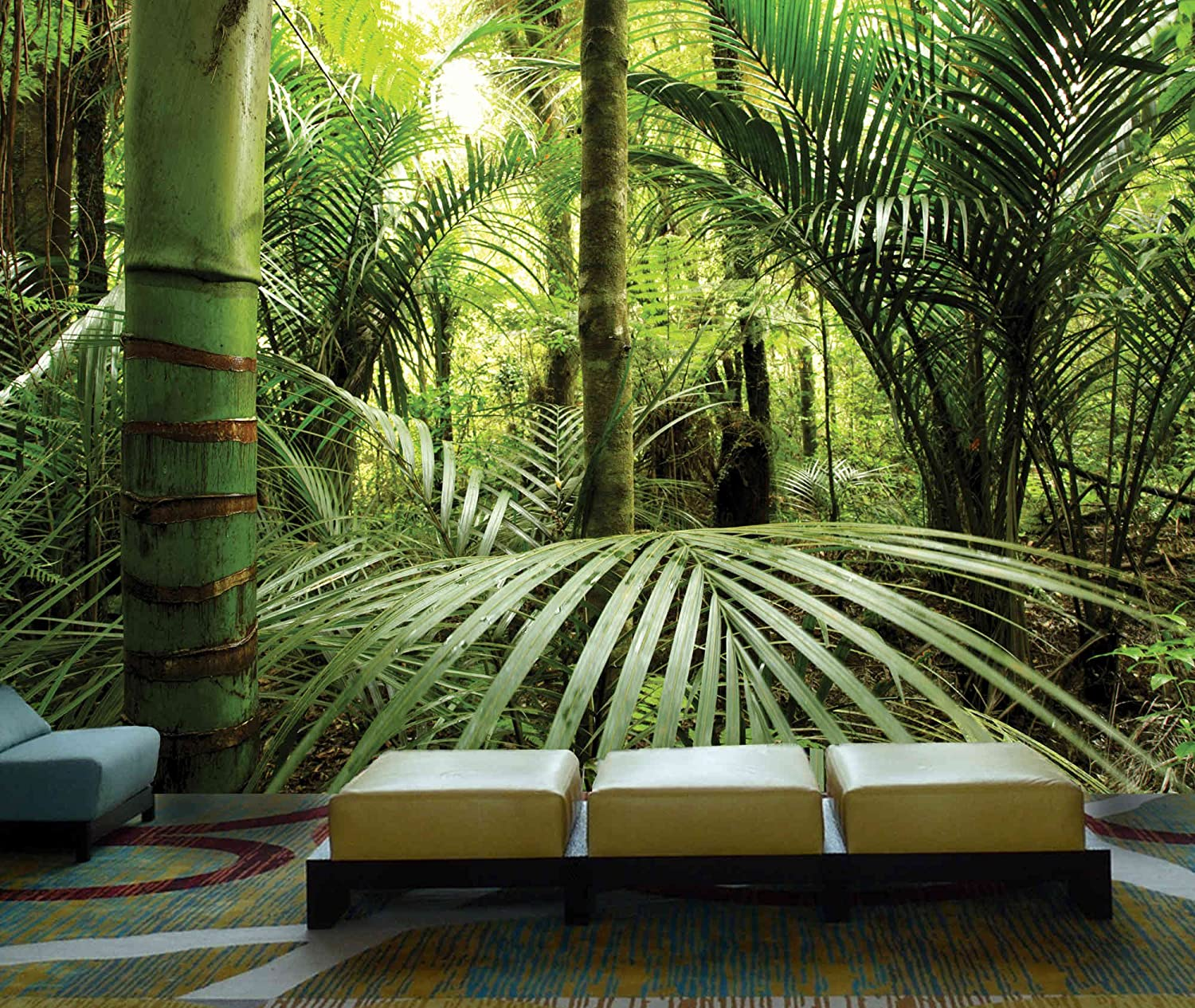 12 feet wide by 8 feet high prepasted wallpaper full wall size prepasted wallpaper full wall size mural from a photo of rainforest easy to hang remove and resuse hang again if u do as in our video