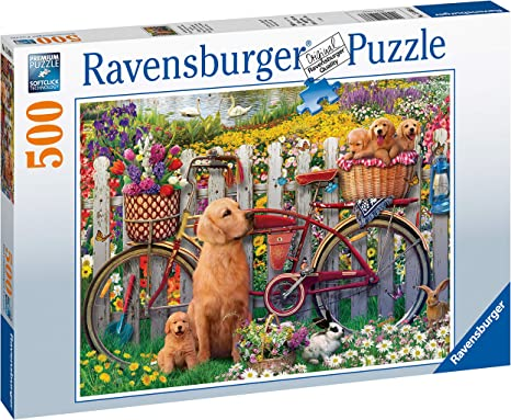House of Puzzles BIG 500 piece jigsaw puzzle SNOWY AFTERNOON dog robin sheep
