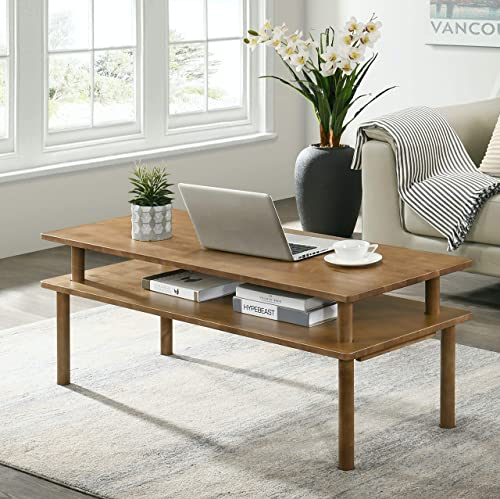 Furnitela Rustic Farmhouse Coffee Table for Living Room, Solid Wood 47 inch