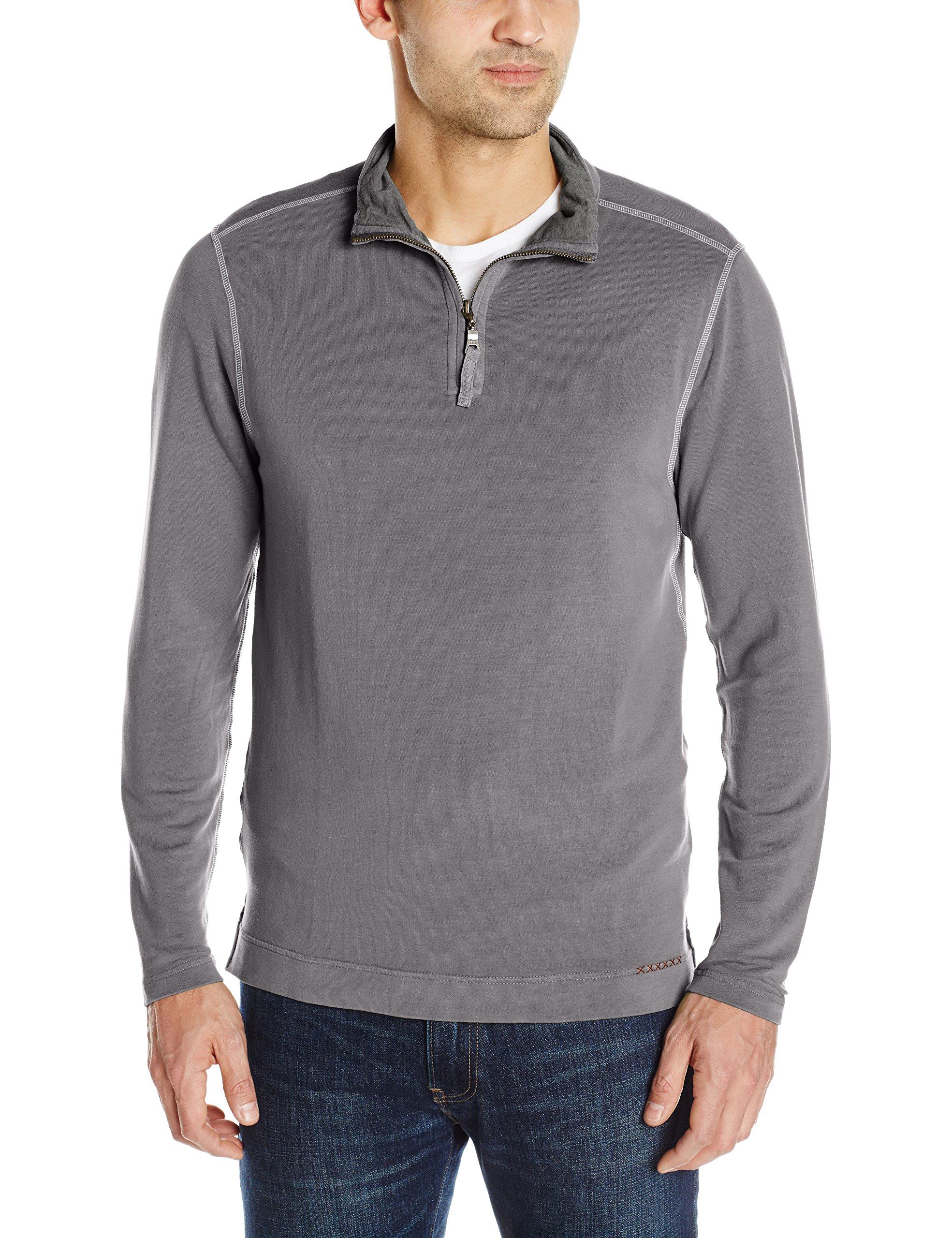 True Grit Men's Light Weight Tencel Half Zip Pullover, Vintage Grey, Large