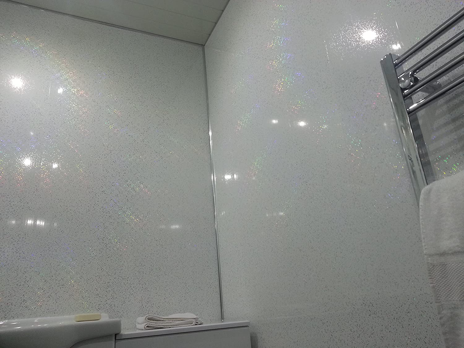 4 White Sparkle Diamond Effect PVC Bathroom Cladding Shower Wall ...