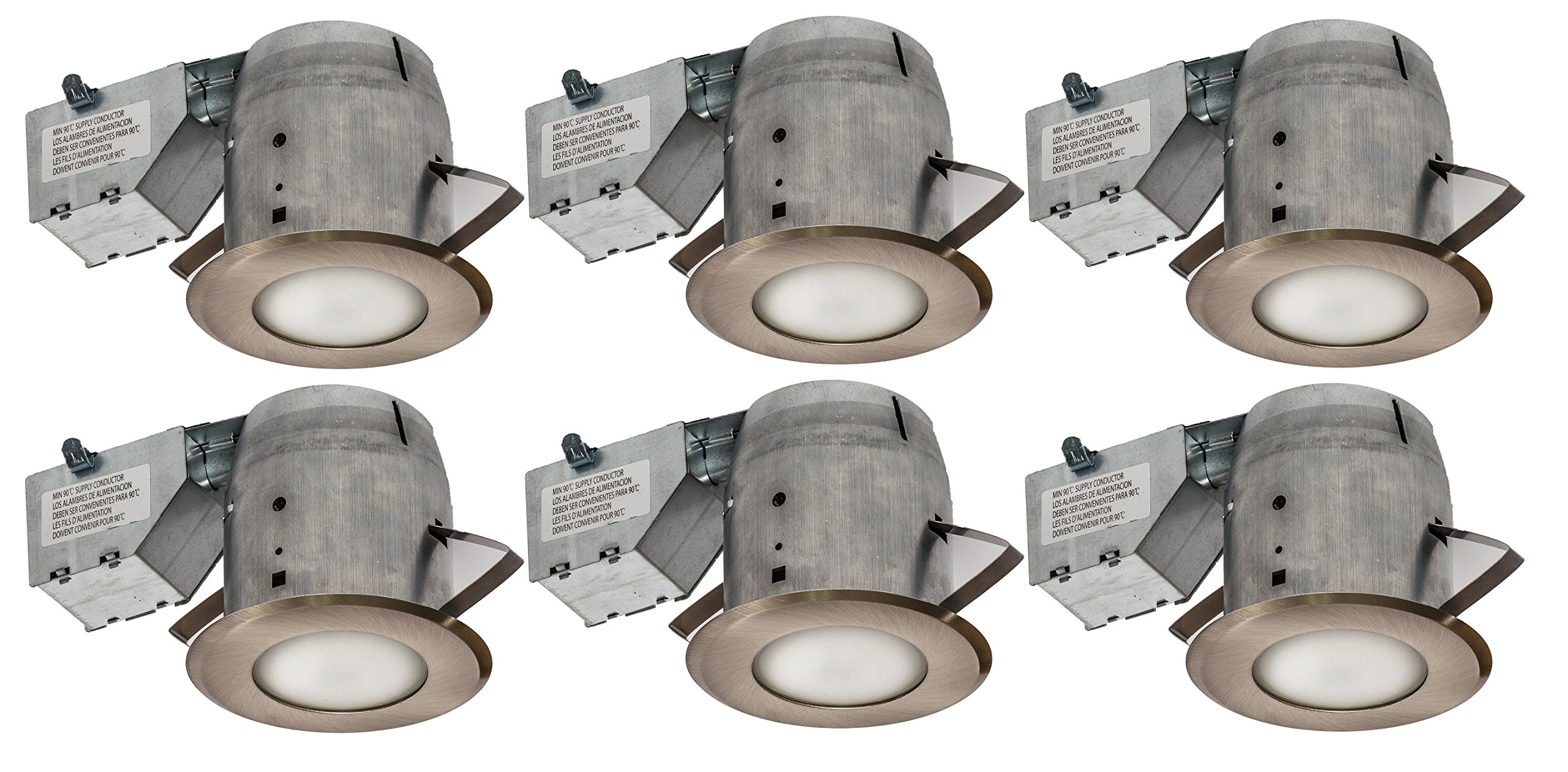 Nadair 4in Shower Recessed Lighting Kit (x6) Dimmable LED Downlight Bathroom Spotlights - IC Rated - GU10 550 Lumens Bulbs (50 Watts Equivalent) Included, 6-Pack Bronze Color by Nadair