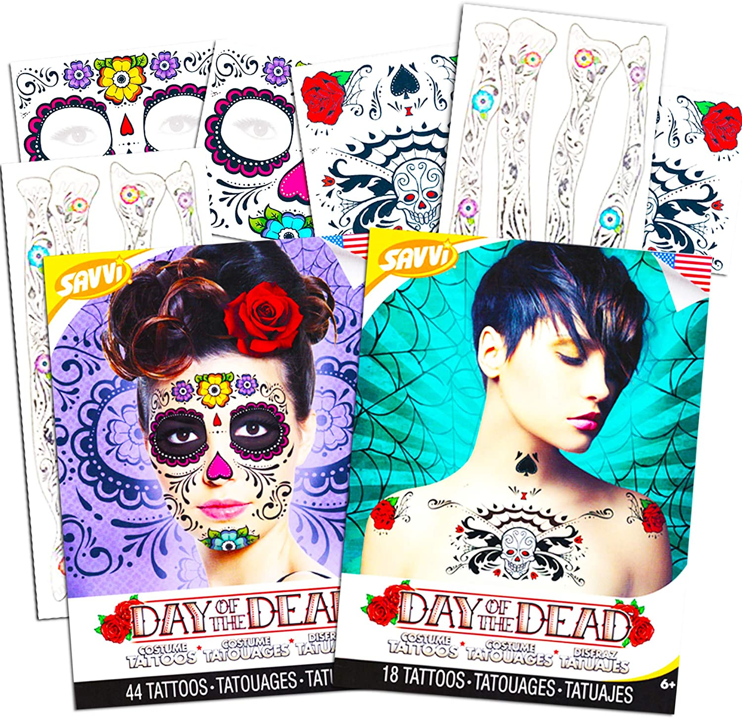 Day of The Dead Sugar Skull Temporary Tattoo Ultimate Whole Body Set - Face, Arms, Hands and Chest Tattoo Kits (Floral Design)