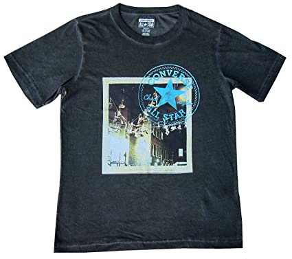 c156cfac8b62 Converse Boys T-Shirt Black Distressed Look - Chuck Taylor All Stars  10Y-15Y (12-13 Years   140-152cm)  Amazon.co.uk  Clothing