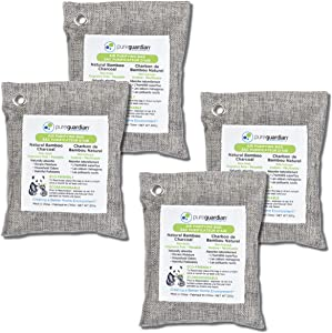 Guardian Technologies CB2004PK Pure Guardian Bamboo Charcoal Air Purifier Bags, Eco-Friendly, Naturally Absorbs Odors, Excess Moisture and Pollutants, 4-pack - 200g each, Gray